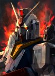 artist_name atsajh close-up fire glowing glowing_eyes gundam highres looking_ahead mecha mobile_suit_gundam no_humans rx-78-2 solo v-fin yellow_eyes