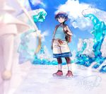 1boy arm_at_side backpack bag bangs black_hair clouds commentary_request crystal day elio_(pokemon) gen_7_pokemon hanenbo hat highres holding_strap looking_at_another outdoors pheromosa pokemon pokemon_(creature) pokemon_(game) pokemon_usum red_headwear shoes short_hair shorts signature sky standing tank_top ultra_beast