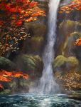 autumn_leaves cliff commentary highres leaf motion_blur nature no_humans rajawat river scenery sekiro:_shadows_die_twice tree water waterfall