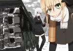 2girls black_eyes black_hair blonde_hair breasts caterpillar_tracks clouds cloudy_sky coat collarbone day gloves green_eyes ground_vehicle highres is-2 long_hair military military_vehicle motor_vehicle multiple_girls necktie open_mouth original red_eyes scarf shirt skirt sky snow tank tank_shell thigh-highs tree white_hair zafuri_(yzrnegy)