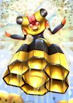absurdres ashraely combee commentary crystal day english_commentary flying forehead_jewel full_body gen_4_pokemon hands_up highres honey insect_wings looking_down no_mouth outdoors pokemon pokemon_(creature) red_sclera shiny shiny_skin solo_focus vespiquen white_eyes wings