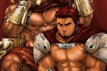2boys abs armor bara bare_chest cape chain chained chest collar elbow_rest facial_hair forked_eyebrows goatee holding holding_chain male_focus manly masateruteru multiple_boys muscle nipples original pauldrons pectorals red_eyes redhead short_hair shoulder_armor sideburns vambraces