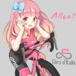 1girl :d aikatsu!_(series) aikatsu_friends! bangs bicycle bike_jersey blunt_bangs blush bow brown_eyes chocomoch commentary_request eyebrows_visible_through_hair gradient_hair grey_background ground_vehicle hair_bow hair_over_shoulder hands_on_own_face highres italian_flag italian_text long_hair looking_at_viewer multicolored_hair on_vehicle open_mouth orange_hair pink_hair race_vehicle round_teeth short_sleeves simple_background smile solo sportswear teeth tour_de_france translation_request upper_teeth yuuki_aine