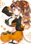 1girl absurdres blush brown_eyes brown_hair commentary_request earrings fingerless_gloves food fruit gloves hair_ornament highres jewelry looking_at_viewer midriff nail_polish orange orange_theme paws re:act shishigami_leona shorts side_ponytail solo v white_background x_hair_ornament