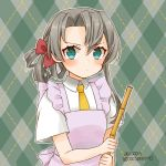 1girl apron aqua_eyes argyle argyle_background asymmetrical_hair bamboo bangs cocoperino commentary_request dated dress_shirt flipped_hair frilled_apron frills green_background kantai_collection looking_at_viewer nowaki_(kantai_collection) pink_apron shirt short_sleeves silver_hair solo swept_bangs twitter_username upper_body white_shirt