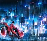 1boy akira boots building cityscape ground_vehicle highres jacket kaneda_shoutarou kaneda_shoutarou's_bike kenzo_093 lamppost male_focus motion_blur motor_vehicle motorcycle night red_jacket reflection scenery skyscraper solo