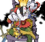 absurdres boots chair clown commentary_request digimon digimon_adventure frills gloves highres keychain knee_boots lipstick makeup male_focus metalgarurumon muscle neck_ruff piemon red_eyes scar scar_across_eye simple_background sitting smile solo_focus sword tutu wargreymon weapon white_gloves wooden_chair yellow_sclera yeo_yee_heng