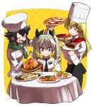 3girls ^_^ anchovy_(girls_und_panzer) anzio_school_uniform ascot black_hair blonde_hair brown_eyes cake carpaccio_(girls_und_panzer) chef chef_hat closed_eyes drill_hair food fork girls_und_panzer green_hair hat holding holding_food holding_pizza knife long_hair multiple_girls oono_imo pepperoni_(girls_und_panzer) pizza school_uniform short_hair smile toque_blanche twin_drills twintails