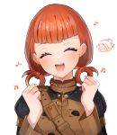 1girl annette_fantine_dominic closed_eyes fire_emblem fire_emblem:_three_houses garreg_mach_monastery_uniform highres long_sleeves open_mouth orange_hair simple_background siso220 solo twintails uniform upper_body white_background