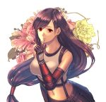 1girl arm_guards bangs bare_shoulders black_skirt breasts brown_hair earrings elbow_pads final_fantasy final_fantasy_vii final_fantasy_vii_remake finger_to_mouth fingerless_gloves flower gloves highres jewelry long_hair low-tied_long_hair midriff navel ooki1089 pink_lips red_eyes shirt skirt suspender_skirt suspenders suspenders_gap swept_bangs tank_top taut_clothes taut_shirt tifa_lockhart very_long_hair white_background white_tank_top
