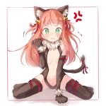 /\/\/\ 1girl aikatsu!_(series) aikatsu_stars! anger_vein angry animal_costume animal_ears bangs bare_shoulders bell blunt_bangs blush border breasts cat_costume cat_ears cat_tail chocomoch cleavage_cutout elbow_gloves embarrassed fake_animal_ears fake_tail fang full_body fur_trim gloves green_eyes hair_bell hair_down hair_ornament hair_ribbon hairband highres leg_ribbon leotard long_hair navel_cutout orange_hair outside_border paw_gloves paw_shoes paws pink_border pout ribbon saotome_ako shoes simple_background sitting small_breasts solo spoken_anger_vein tail tail_bell tail_ribbon tearing_up thigh-highs wariza white_background