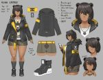 1girl :< absurdres animal_ears armband bear_ears bear_tail belt black_hair cellphone character_sheet commentary dark_skin eating english_commentary english_text exaxuxer food full_body grey_background hair_between_eyes hair_over_one_eye hamburger highres hood hood_down hooded_jacket jacket jewelry kuma_cross_(exaxuxer) mole mole_under_mouth open_clothes open_jacket original pendant phone plump print_shirt shirt shoes short_hair shorts smartphone smile sneakers socks solo tail tomboy typo yellow_belt yellow_eyes