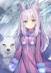 1girl animal animal_ears blue_eyes blush breasts closed_mouth commentary_request copyright_request crown dress fur-trimmed_dress fur-trimmed_sleeves fur_trim long_hair long_sleeves looking_at_viewer medium_breasts mini_crown mittens pink_dress purple_hair rk_(rktorinegi) smile snowing solo striped tail tail_raised vertical-striped_dress vertical_stripes very_long_hair white_mittens wolf wolf_ears wolf_girl wolf_tail yellow_eyes