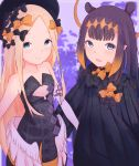 2girls abigail_williams_(fate/grand_order) absurdres bangs bare_shoulders black_bow black_dress black_headwear blonde_hair blue_eyes bow breasts closed_mouth cosplay costume_switch detached_sleeves dress fate/grand_order fate_(series) forehead hair_bow hat highres hololive hololive_english long_hair lost_b'unny low_wings multiple_bows multiple_girls ninomae_ina'nis open_mouth orange_bow parted_bangs pointy_ears polka_dot polka_dot_bow purple_hair ribbed_dress sidelocks single_detached_sleeve sleeves_past_fingers sleeves_past_wrists small_breasts smile tentacle_hair wings