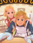 1boy 1girl alternate_hairstyle ariettys_art baking blonde_hair blue_eyes blush cooking couple earrings food food_on_face green_eyes highres jewelry link long_hair open_mouth oven oven_mitts pointy_ears powder princess_zelda short_hair smile the_legend_of_zelda the_legend_of_zelda:_breath_of_the_wild