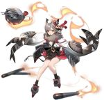 1girl animal_ears animal_on_head azur_lane bare_legs between_fingers black_footwear breasts facial_mark fan folding_fan full_body fur_collar fur_trim gradient grey_hair hair_ornament highres japanese_clothes long_sleeves looking_at_viewer miniskirt no_bra obi official_art on_head open_clothes open_mouth open_shirt outstretched_arms pleated_skirt red_skirt rudder_footwear sash shirt shisantian short_hair skirt small_breasts socks solo suzutsuki_(azur_lane) tabi tassel torpedo torpedo_tubes transparent_background turret white_shirt wide_sleeves