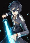 1boy absurdres belt black_background black_hair blue_eyes glowing glowing_sword glowing_weapon hair_between_eyes highres holding holding_sword holding_weapon homuntan kirito open_mouth solo sword sword_art_online sword_art_online:_alicization teeth tongue weapon