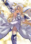 1girl absurdres arm_up armor bangs blonde_hair blue_eyes breasts chain collar dress elbow_gloves fate/apocrypha fate_(series) faulds flag gauntlets gloves headpiece highres huge_filesize jeanne_d'arc_(fate) jeanne_d'arc_(fate)_(all) jikatarou large_breasts long_hair metal_collar open_mouth plackart thigh-highs thighs very_long_hair white_dress