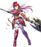 1girl armor armored_boots asatani_tomoyo axe bangs battle_axe belt boots breastplate broken broken_armor broken_weapon elbow_pads fire_emblem fire_emblem:_path_of_radiance fire_emblem_heroes gauntlets hand_up high_ponytail highres holding holding_weapon jill_(fire_emblem) long_hair long_sleeves looking_away official_art one_eye_closed pants parted_lips ponytail red_armor red_eyes redhead scar shiny shiny_hair shoulder_armor solo sweat sweatdrop tied_hair torn_clothes torn_pants torn_sleeves transparent_background weapon white_pants
