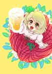 1girl alcohol beer beerko blonde_hair blush bow cup dress drinking_glass eyebrows_visible_through_hair frilled_dress frills green_nails green_ribbon hair_ribbon happy holding leaf long_sleeves myouga_teien open_mouth original plaid puffy_long_sleeves puffy_sleeves purple_dress ribbon shirt short_hair simple_background strapless strapless_dress wine_glass yellow_eyes