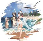 5girls :d ahoge animal_ears animal_on_shoulder arm_up armpits azur_lane bare_shoulders barefoot beach bikini bird black_bikini black_hair breasts chapayev_(azur_lane) chick crab day earrings eyewear_on_head food front-tie_bikini front-tie_top fruit georgia_(azur_lane) georgia_(lanier_swan)_(azur_lane) glint grey_hair halterneck hibiki_(azur_lane) highres jewelry leg_up long_hair looking_at_viewer manjuu_(azur_lane) melon multiple_girls navel off_shoulder official_art open_mouth orange_eyes outdoors outstretched_arm ponytail red_bikini red_eyes sandals sandals_removed shawl shisantian side-tie_bikini silver_hair skindentation small_breasts smile sovetskaya_rossiya_(azur_lane) standing standing_on_one_leg star-shaped_eyewear stomach string_bikini sunglasses suzutsuki_(azur_lane) suzutsuki_(beachside_attendant!)_(azur_lane) swimsuit thigh_strap thighs transparent_background very_long_hair water white_bikini