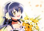 1girl absurdres bangs bare_shoulders blue_hair blush bouquet choker eyebrows_visible_through_hair flower from_side headband highres holding holding_bouquet long_hair looking_to_the_side love_live! love_live!_school_idol_project nota_ika open_mouth simple_background smile solo sonoda_umi upper_body yellow_eyes