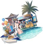 1girl animal_ears artist_request ass azur_lane bag balloon bare_shoulders black_hair black_swimsuit blue_eyes breasts cup cupcake disposable_cup drinking dutch_angle eyewear_on_head flower food hair_flower hair_ornament highres holding kii_(azur_lane) kii_(poolside_persuasion)_(azur_lane) large_breasts long_hair looking_at_viewer makizushi manjuu_(azur_lane) off_shoulder official_art one-piece_swimsuit open_clothes plant pool potted_plant see-through sideboob solo sunflower sunglasses sushi swimsuit thigh_strap thighs transparent_background tray very_long_hair wading water