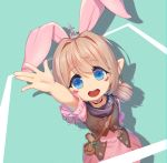 1girl animal_ears bangs blonde_hair blue_eyes blush choker dress eyebrows_visible_through_hair final_fantasy final_fantasy_xiv foreshortening junkun lalafell looking_at_viewer open_mouth outstretched_hand rabbit_ears smile solo twintails
