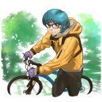 1boy bicycle blue_eyes blue_hair glasses gloves ground_vehicle gundam highres jacket kamille_bidan looking_up smile solo vigwer zeta_gundam