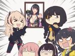 >_< 5girls anger_vein angry anti-rain_(girls_frontline) chibi closed_eyes commentary_request confused creepy_himecchi eyepatch girls_frontline headphones m16a1_(girls_frontline) m4_sopmod_ii_(girls_frontline) m4a1_(girls_frontline) multiple_girls photo_(object) ro635_(girls_frontline) scar scar_across_eye st_ar-15_(girls_frontline) third-party_edit translated