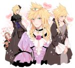 1girl 2boys aerith_gainsborough alternate_costume andrea_rhodea black_dress blonde_hair blush bow braid cloud_strife crossdressing dress final_fantasy final_fantasy_vii final_fantasy_vii_remake frilled_dress frilled_sleeves frills hair_bow heart heart_hands multiple_boys multiple_persona nair purple_dress sparkle spiky_hair tiara twin_braids