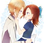 1boy 1girl back_bow bangs blazer blue_bow blue_choker blue_eyes blush bow brother_and_sister brown_hair choker closed_mouth commentary dress_shirt floral_background from_side hair_bow jacket katarina_claes keith_claes kikumamo82 light_brown_hair long_sleeves looking_at_another medium_hair open_mouth otome_game_no_hametsu_flag_shika_nai_akuyaku_reijou_ni_tensei_shite_shimatta purple_shirt shirt short_hair siblings sitting sitting_on_lap sitting_on_person smile step-siblings time_paradox violet_eyes white_background white_bow white_jacket