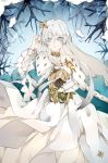 1girl anastasia_(fate) bangs blue_eyes breasts cape cloak crown doll dress eyebrows_visible_through_hair fate/grand_order fate_(series) fur_trim hair_between_eyes hair_over_one_eye hairband highres jewelry jingzhongyin large_breasts leaf long_hair looking_at_viewer open_mouth silver_hair snow solo tree_branch very_long_hair white_dress