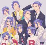 1boy blue_hair crossdressing flower gen_1_pokemon gi_xxy glasses green_eyes hair_flower hair_ornament hair_ribbon highres james_(pokemon) jessie_(pokemon) meowth pokemon purple_hair ribbon tuxedo watch