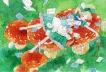 1girl bangs barefoot blonde_hair blue_bow blush bow card cup dress fly_agaric frilled_dress frills green_bow green_dress hair_bow long_hair lying mushroom on_back original pouring puffy_short_sleeves puffy_sleeves short_sleeves solo ta7ma4 teacup teapot traditional_media watercolor_(medium)