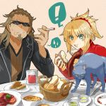 1boy 1girl bangs blonde_hair braid bread breasts brown_hair candle cat cigarette eating eyebrows_visible_through_hair facial_hair fate/apocrypha fate/grand_order fate_(series) food goatee green_eyes hair_ornament hair_scrunchie highres iris_(tb33064667) jacket long_hair looking_at_viewer mordred_(fate) mordred_(fate)_(all) open_mouth ponytail red_scrunchie scar scrunchie shishigou_kairi simple_background sunglasses table