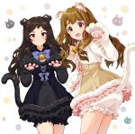 2girls :d absurdres animal_ear_fluff animal_ears bangs bell black_dress bloomers blue_bow blush bow bowtie brown_dress brown_eyes brown_hair cat_ears cat_girl cat_paws cat_tail closed_mouth commentary cowboy_shot cross-laced_clothes dress dress_bow eyebrows_visible_through_hair frilled_dress frills fur-trimmed_dress fur_trim gloves hand_up hands_up highres idolmaster idolmaster_million_live! idolmaster_million_live!_theater_days jingle_bell kitazawa_shiho long_hair long_sleeves looking_at_viewer miyao_miya multiple_girls neck_bell open_mouth parted_bangs paw_gloves paw_pose paws pink_bow pinkiepies2 shiny shiny_hair short_dress smile standing sweatdrop symbol_commentary tail tail_raised thick_eyebrows underwear wavy_hair white_background