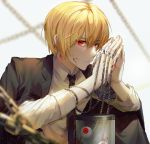 1boy bangs black_coat black_neckwear blonde_hair blood blood_on_face blood_on_fingers blurry chain coat depth_of_field earrings expressionless eyeball eyebrows_visible_through_hair hair_between_eyes hands_together hunter_x_hunter jewelry kurapika looking_at_viewer mmo_(mmo_omm938) necktie red_eyes ring rust solo sparkle thumb_ring