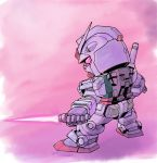 beam_saber chibi from_behind gundam holding holding_sword holding_weapon looking_down mecha mobile_suit_gundam moukin_punch no_humans pink_eyes rx-78-2 solo sword v-fin weapon