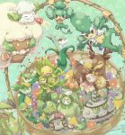 :3 amoonguss basket closed_eyes closed_mouth commentary_request cottonee dated deerling ferroseed ferrothorn floral_background flower foongus gen_5_pokemon green_background hitsubaru holding holding_pokemon leavanny legendary_pokemon lilligant maractus no_humans open_mouth orange_eyes pansage petals petilil plant pokemon pokemon_(creature) sawsbuck serperior servine sewaddle simisage smile snivy swadloon teeth tongue vines virizion whimsicott