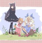 3girls animal_ears arms_behind_back asymmetrical_hair bandages bangs barrette black_dress black_footwear black_hair blonde_hair blue_background blue_bow blue_dress blue_eyes boots bow cat_ears collared_shirt copyright_name dress eyebrows_visible_through_hair flower frilled_dress frills grass green_eyes green_ribbon grey_ribbon hair_between_eyes hair_bobbles hair_ornament hairband happy haruko_(kagawa_yuusaku) highres kagawa_yuusaku kneeling long_hair long_sleeves looking_at_another looking_away multiple_girls orange_eyes orange_ribbon original pantyhose pinafore_dress pink_background pink_dress pink_footwear pink_hairband pink_ribbon plaid plaid_background pointy_ears ribbon shirt short_sleeves sidelocks sitting standing striped striped_dress striped_legwear tory_(kagawa_yuusaku) tory_and_the_starry_island tree_stump undershirt underskirt uroche_(kagawa_yuusaku) very_long_hair white_hair