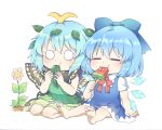 2girls antennae arm_support barefoot blue_bow blue_dress blue_hair blue_wings bow butterfly_wings caramell0501 chibi cirno detached_wings dress eating eternity_larva flower food green_dress hair_bow hair_ornament highres holding holding_food ice ice_wings leaf leaf_hair_ornament multiple_girls pink_flower popsicle red_bow shirt short_sleeves sitting sleeveless sleeveless_dress soles touhou watermelon_bar white_background white_shirt wings