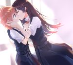 2girls absurdres backlighting bangs brown_eyes brown_hair closed_eyes commentary_request dutch_angle eyebrows_visible_through_hair from_side hand_on_another's_back hand_on_another's_cheek hand_on_another's_face highres kiss koito_yuu long_hair medium_hair multiple_girls nanami_touko nowoka orange_hair school_uniform yagate_kimi_ni_naru yuri