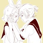 1boy 1girl aihara-rina bangs bare_shoulders blush bow forehead-to-forehead hair_bow hair_ornament hairclip hands_on_another's_face hands_together hands_up kagamine_len kagamine_rin monochrome open_mouth sailor_collar short_hair short_ponytail short_sleeves sketch spiky_hair swept_bangs upper_body vocaloid yellow_background
