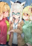 3girls adjusting_eyewear ahoge animal_ears beret black_legwear blonde_hair blush braid breasts brown_jacket casual collarbone commentary_request elf eyebrows_visible_through_hair fox_ears fox_girl glasses green_eyes green_shirt green_sweater hair_between_eyes hair_intakes hair_ornament hairclip hand_on_another's_shoulder hat highres hololive horns ichika_oekaki87 jacket long_hair looking_at_viewer medium_breasts multiple_girls open_clothes open_jacket pointy_ears red_eyes red_jacket sheep_girl sheep_horns shirakami_fubuki shiranui_flare shirt short_shorts shorts single_braid smile sparkle sweater thigh-highs tsunomaki_watame virtual_youtuber white_hair