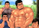 4boys abs bara bare_chest bare_shoulders black_hair brown_hair chest closed_eyes covering_one_eye facial_hair goatee looking_at_another male_focus manly masateruteru multiple_boys muscle navel nipples original peeking short_hair sideburns sleeveless smile stubble thick_eyebrows tight undressing