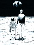 2boys astronaut earth holding_hands kurosuke_(nora) monochrome moon multiple_boys r_daneel_olivaw space the_caves_of_steel
