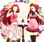 2girls blush boots brown_hair casual closed_eyes dress dual_persona finger_to_mouth floral_print flower grin happy_birthday idolmaster leaf long_hair minase_iori multiple_girls navel nira_(vira) pink_eyes skirt sleeveless smile strawberry_print stuffed_animal stuffed_bunny stuffed_toy thigh-highs zettai_ryouiki