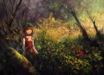 1girl animal_ears bovod bow brown_eyes brown_hair cat_ears chen hat looking_up oil_painting_(medium) solo touhou tree