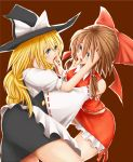 2girls alternate_eye_color blonde_hair blue_eyes bow brown_background brown_hair green_eyes hair_bow hakurei_reimu hat kirisame_marisa long_hair multiple_girls short_hair simple_background touching touhou ushi-milk yuri